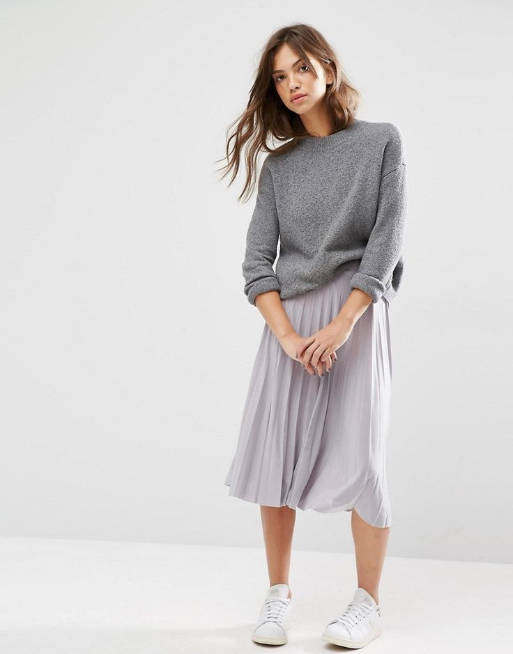 Image 1 ofBoohoo Pleated Slinky Midi Skirt