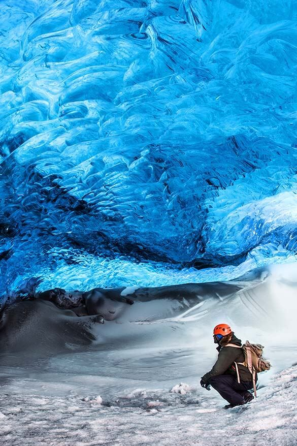 Glacier ice caving - one of the best things to do in Iceland in winter