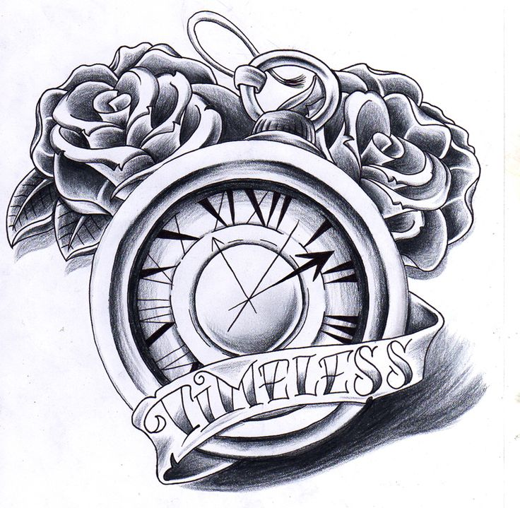 Rose Clock Tattoo Designs Drawing: Pocket Watch With Roses And Banner