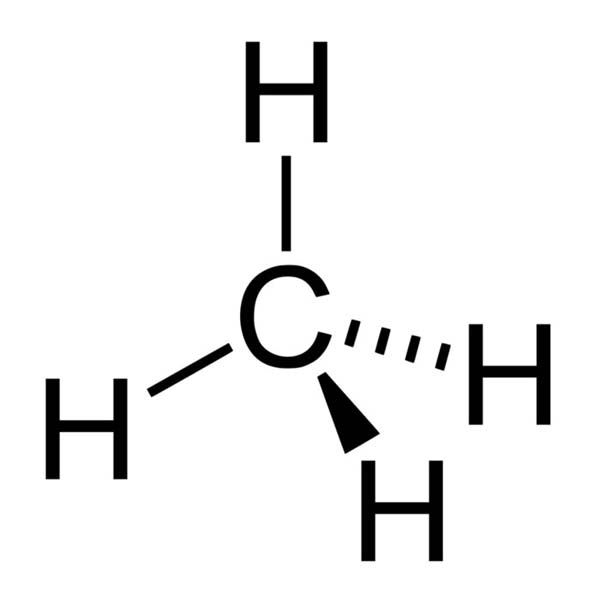 This diagram shows the chemical structure of methane. A