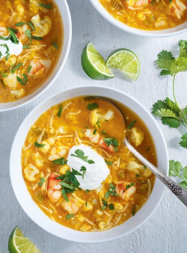 Soupe aux lentilles, chou-fleur et crevettes | RICARDO