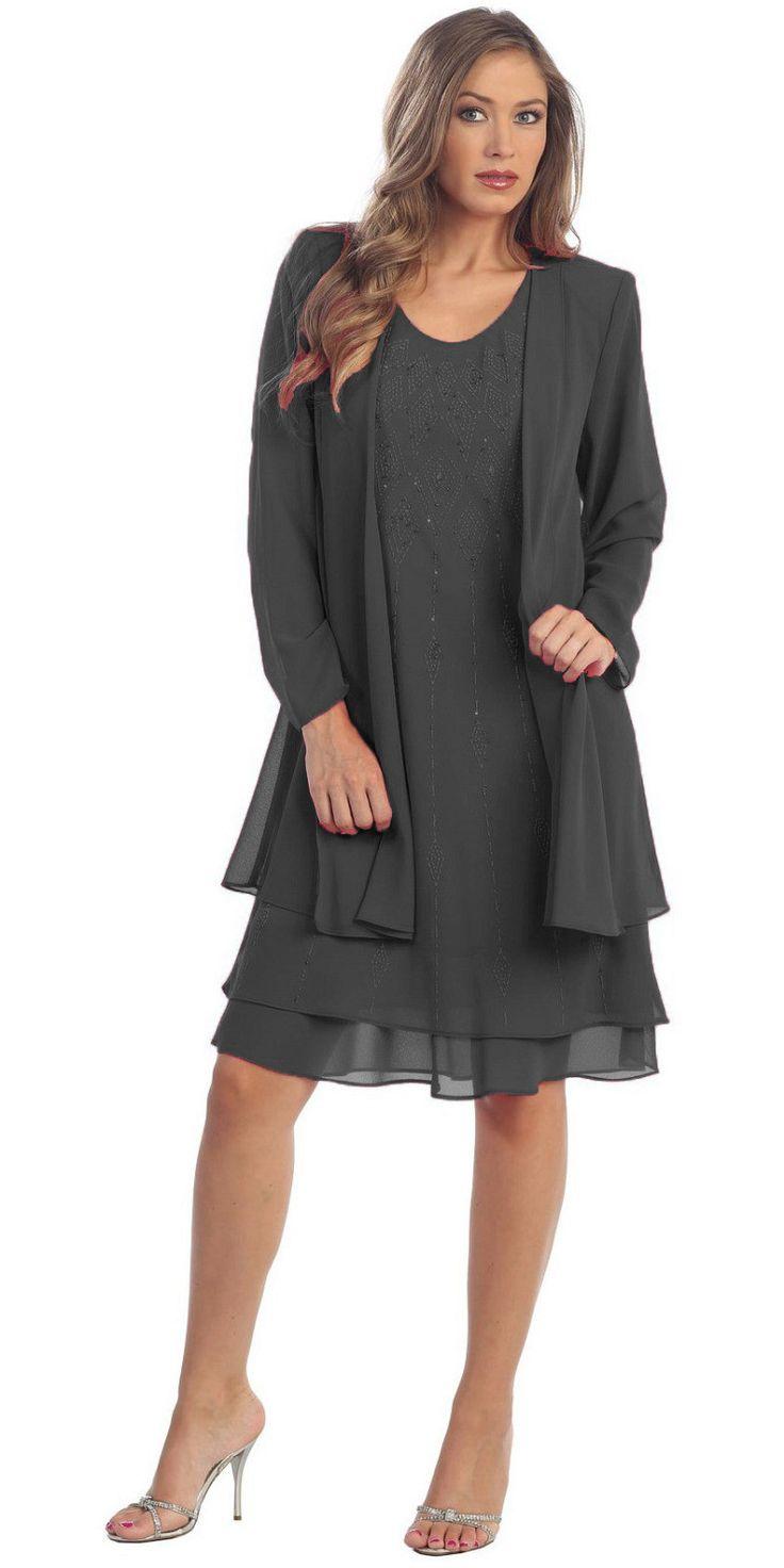 Flowy Chiffon Fuchsia Dress Knee Length Long Sleeve Cardigan