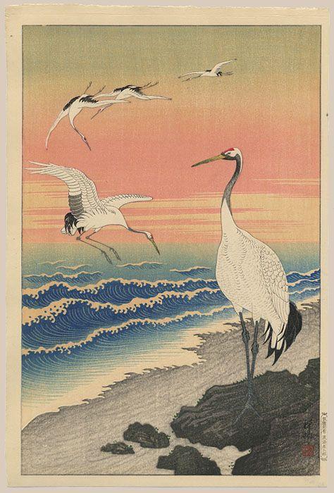 """""""Emperor Cranes on Seashore"""" by Shoson"""