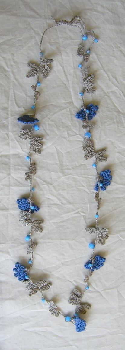 blue crochet necklace by hana afu