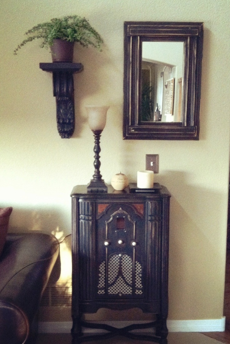 Antique Radio---refinished and modernized!  Artist, JADE, takes old things and makes them new again!  http://www.johnalexdeane.com/