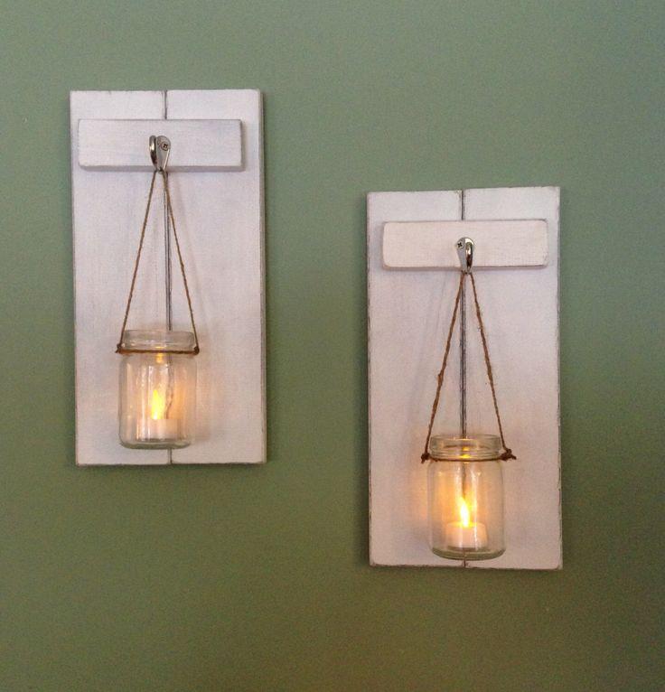 1000+ ideas about Mason Jar Sconce on Pinterest Mason jar lanterns, Mason jar kitchen decor ...