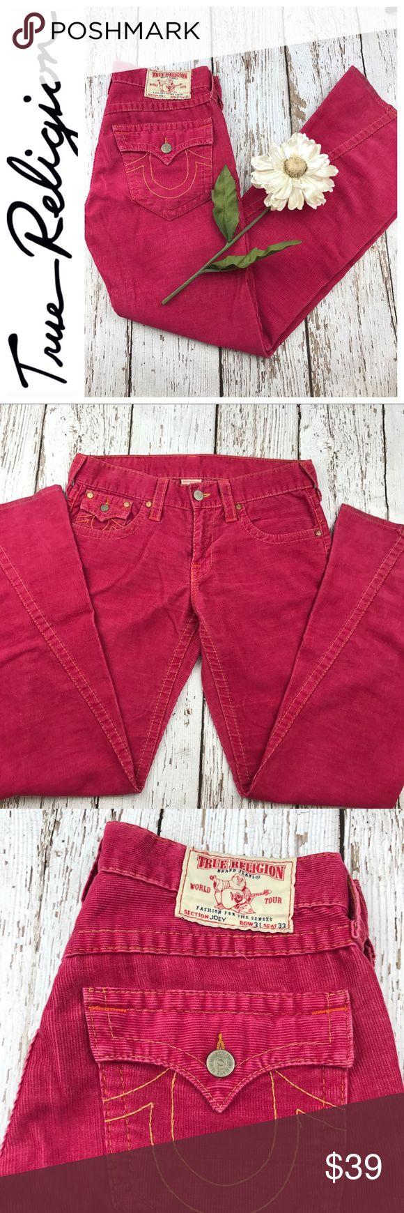 "💕SALE💕True Religion Joey Coral Corduroy Jeans Fabulous 💕SALE💕True Religion Joey Coral Corduroy Jeans 33"" Inseam 10"" Rise 17"" across Waist Laying flat True Religion Jeans"