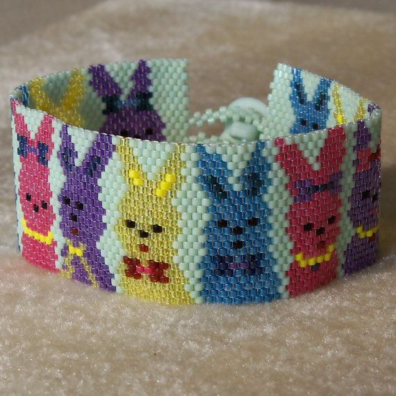 Bunnies on Parade Bracelet Pattern  Peyote by CreativeGoods, $4.40