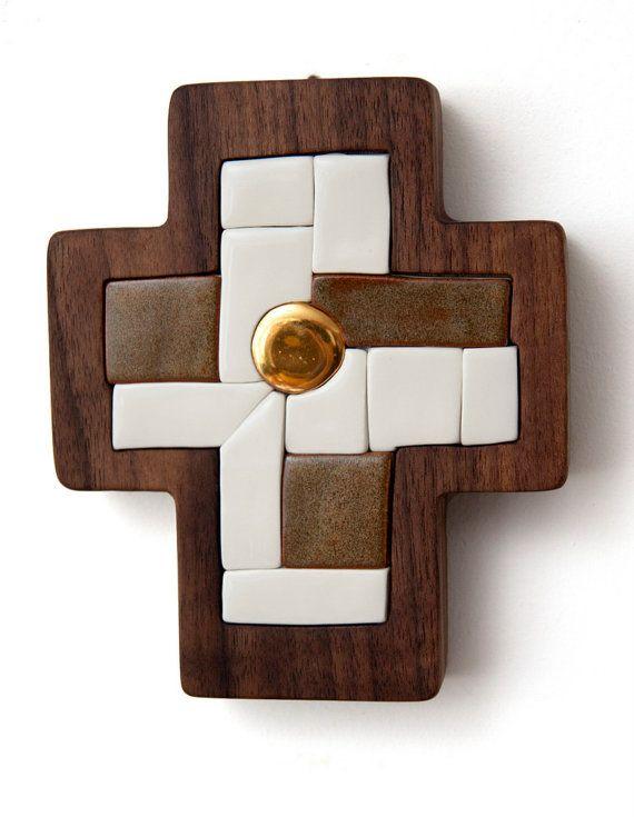 Cross  Original artwork hand made ceramic mosaic by LuboMichalko, €100.00 #christianart #wallcross