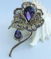 """Helenajewelry 4.13 """" золото-tone фиолетовый горный хрусталь хрустальный цветок брошь Pin подвеска брошь букет SMT06624C4"""