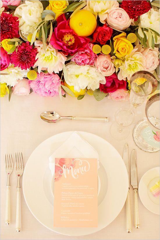 pretty wedding menu