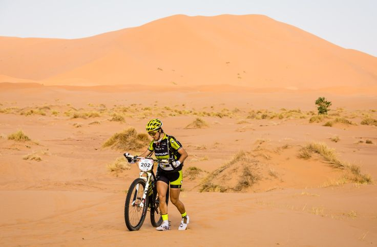 Morocco. Mountain bike race, Titan Desert near Erg Chebbi dunes in the Sahara.