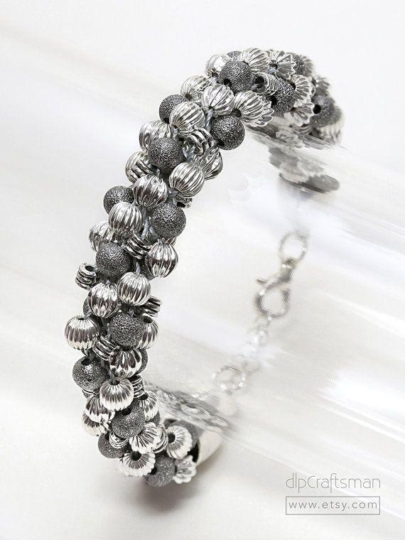 Silver Kumihimo Bracelet Silver Bead Kumihimo by dlpCraftsman