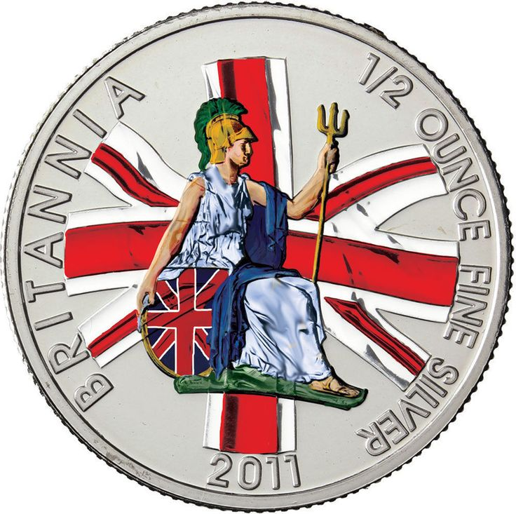 Großbritannien 1 Pfund Silber Britannia mit Rüstung & Dreizack 2011 in Farbe