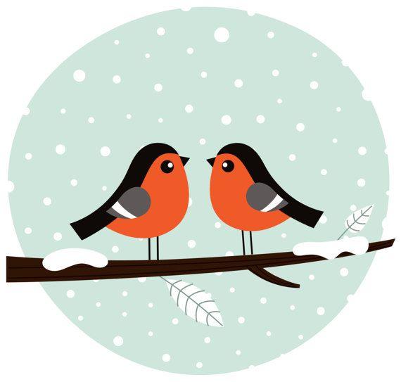 Cute LOVE Birds / Winter Art edition by RosemaryWellnessShop