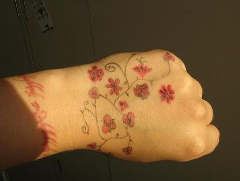 17 best images about flower wrist band tattoos on for Small flower tattoos on wrist