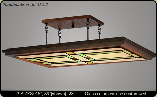 Handcrafted in the USA. Craftsman Ceiling Light, Customize Glass Colors and Hanging Heights -Free Shipping.