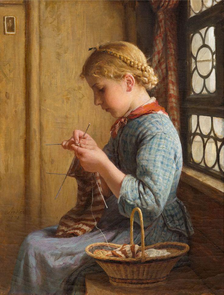 Knitting Oils : Albert anker knitting girl at the window oil on