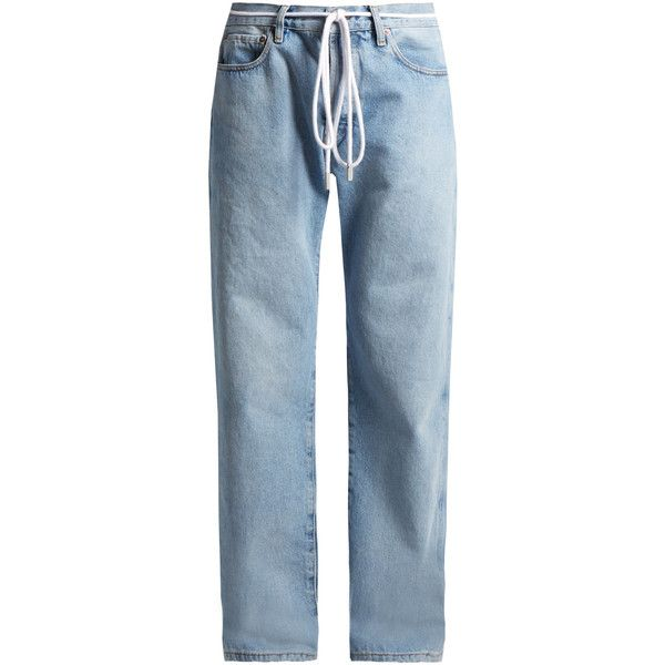 Off-White Low-slung boyfriend denim jeans (€450) ❤ liked on Polyvore featuring jeans, pants, bottoms, pantalones, light denim, wide leg jeans, boyfriend fit jeans, off white jeans, slouchy jeans and slouch jeans