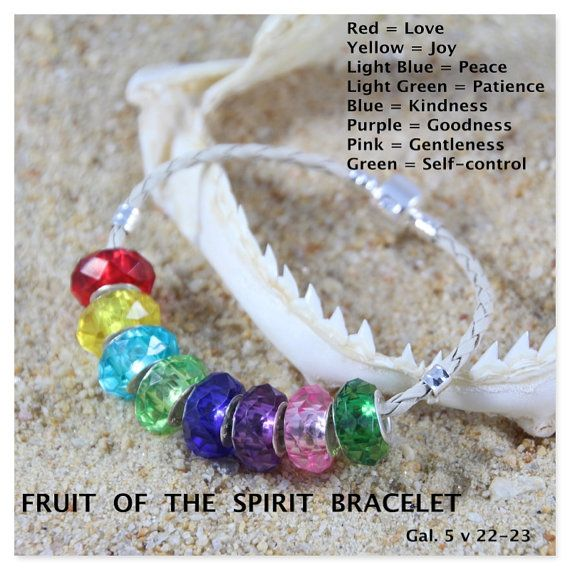 Fruit of the Spirit European Bead Bracelet.    Bracelet: 3mm Beige Braid Leather, 3mm Black Leather or 3mm Silver Tone Snake Chain.    Bracelet