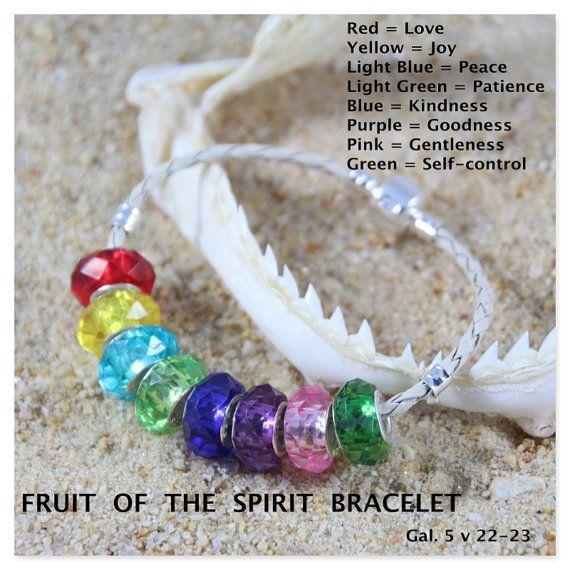 Fruit of the Spirit European Bead Bracelet.    Bracelet: 3mm Beige Braid Leather, 3mm Black Leather or 3mm Silver Tone Snake Chain.    Bracelet