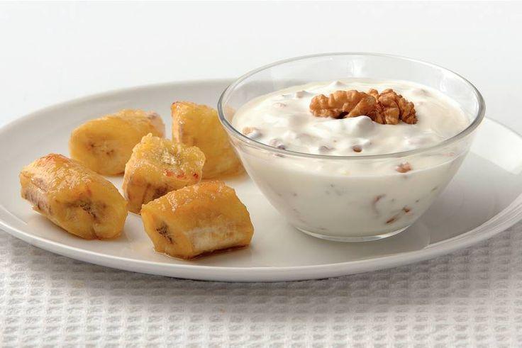 Kijk wat een lekker recept ik heb gevonden op Allerhande! Gegrilde bananen met walnotenyoghurt