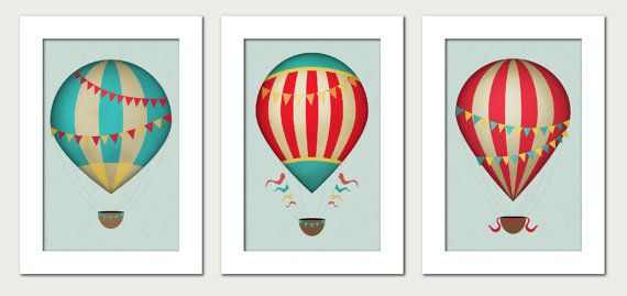 Vintage Hot Air Balloons Nursery Wall Art Print | Travel ...