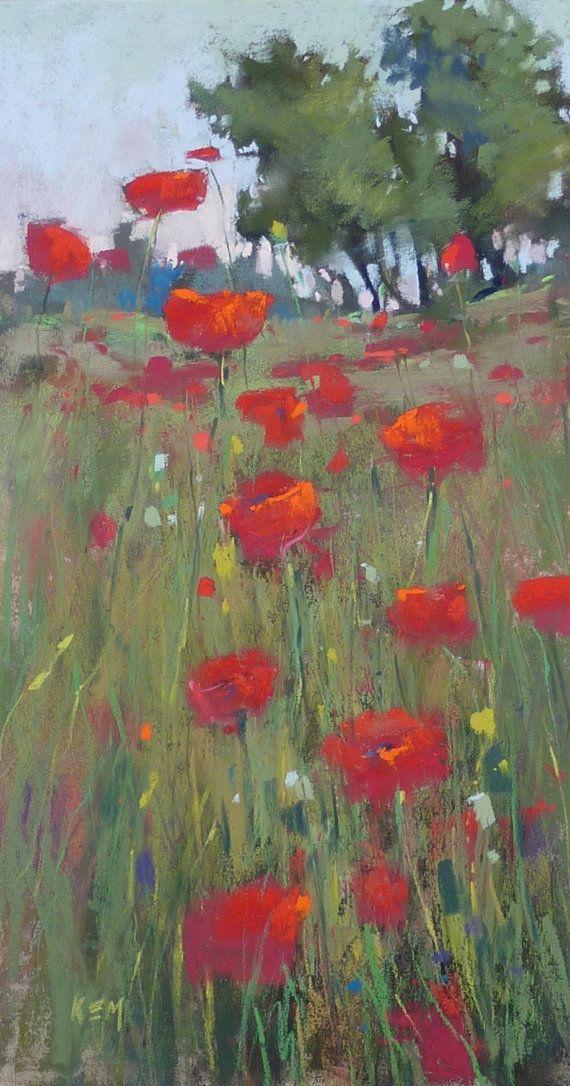 FRANCE Landscape POPPY FIELD 2 Wildflowers by KarenMargulisFineArt