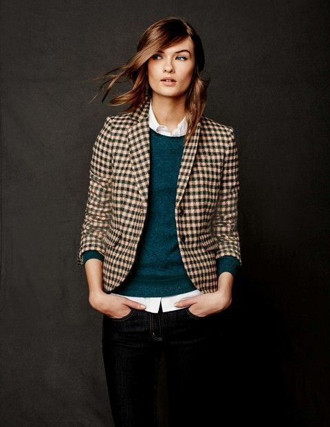 British Tweed Blazer WE501 Coats & Jackets at Boden. I like the outfit. Are those eyebrows for real?