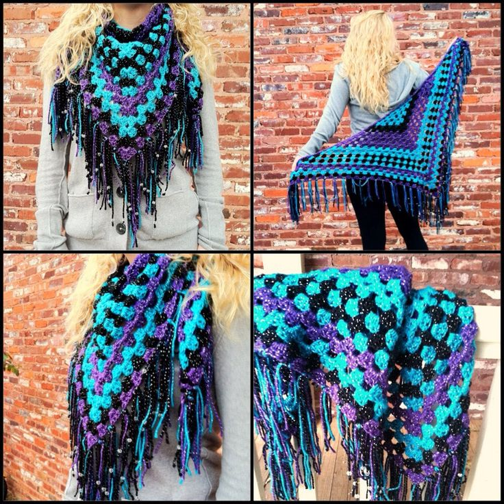 Half-Granny Scarf/Wrap --- Make a magic ring. ch 4, shell, ch 2 shell, ch1, dc. Ch 4, turn, shell in that little pocket you just made with that ch 1, then proceed to create as you would with a regular granny. At the end of each row, just ch 1, dc, then chain 4 and turn, starting your new row with a shell in that little space you just made.