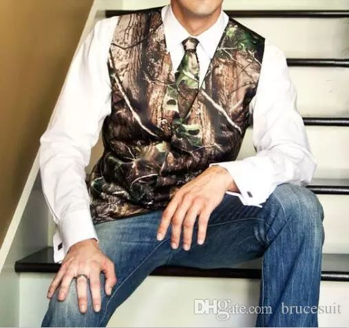 2017 New Fashion Camo Groom Vest Formal Tuxedo Vest For Wedding Vest+Tie Mens Linen Vest Mens Wears From Brucesuit, $32.17| Dhgate.Com