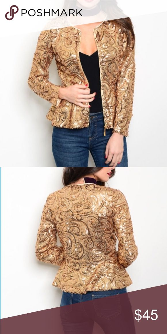 Gorgeous Gold Sequin Jacket New Item  Long sleeve zipper front closure all over sequins jacket  Absolutely beautiful and available in small, medium, large  Please don't hesitate to let me know if you have any questions! XTaren Jackets & Coats Blazers
