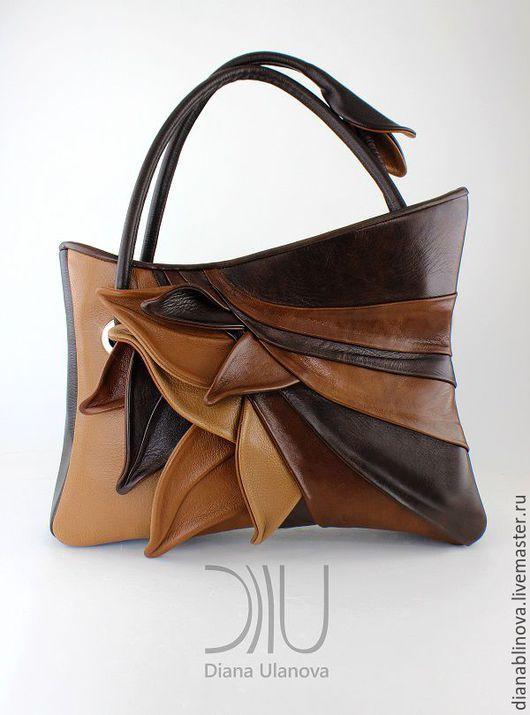 Женские сумки ручной работы. Ярмарка Мастеров - ручная работа. Купить в наличии Перья коричневая. Handmade. Комбинированный, абстрактный