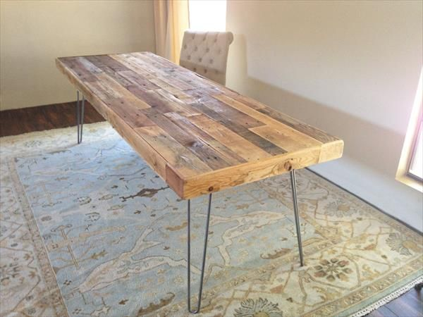upcycled wooden pallet long table with metal legs