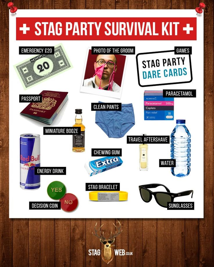 StagWeb's Stag Party Survival Kit  #survival #infographic #money #funny #creative #stagdo #wedding #boy #groom #bestman #planning #weddingplanning #party #partyplanning