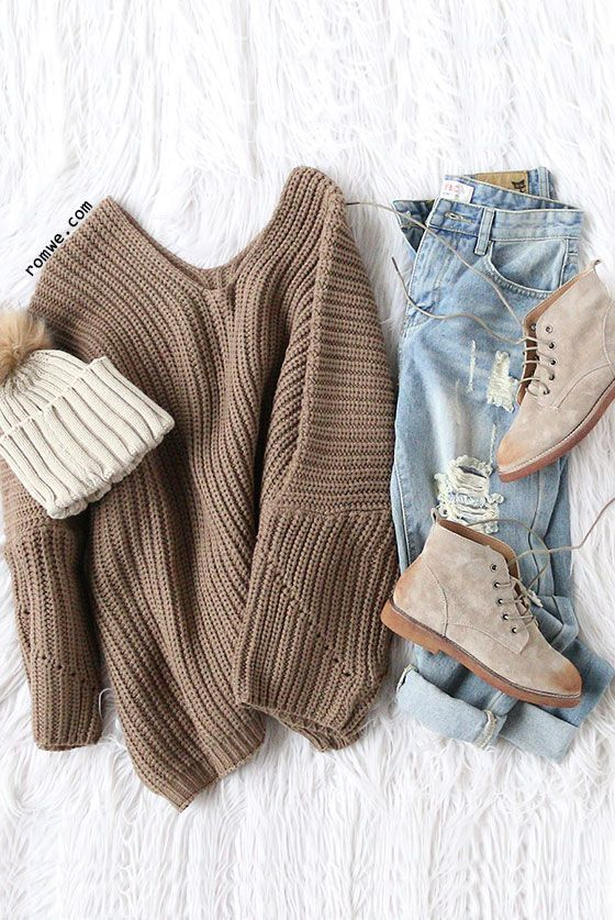 Back To School Hairstyles : Coffee V Neck Drop Shoulder Oversized Sweater with ripped denim jeans and khaki