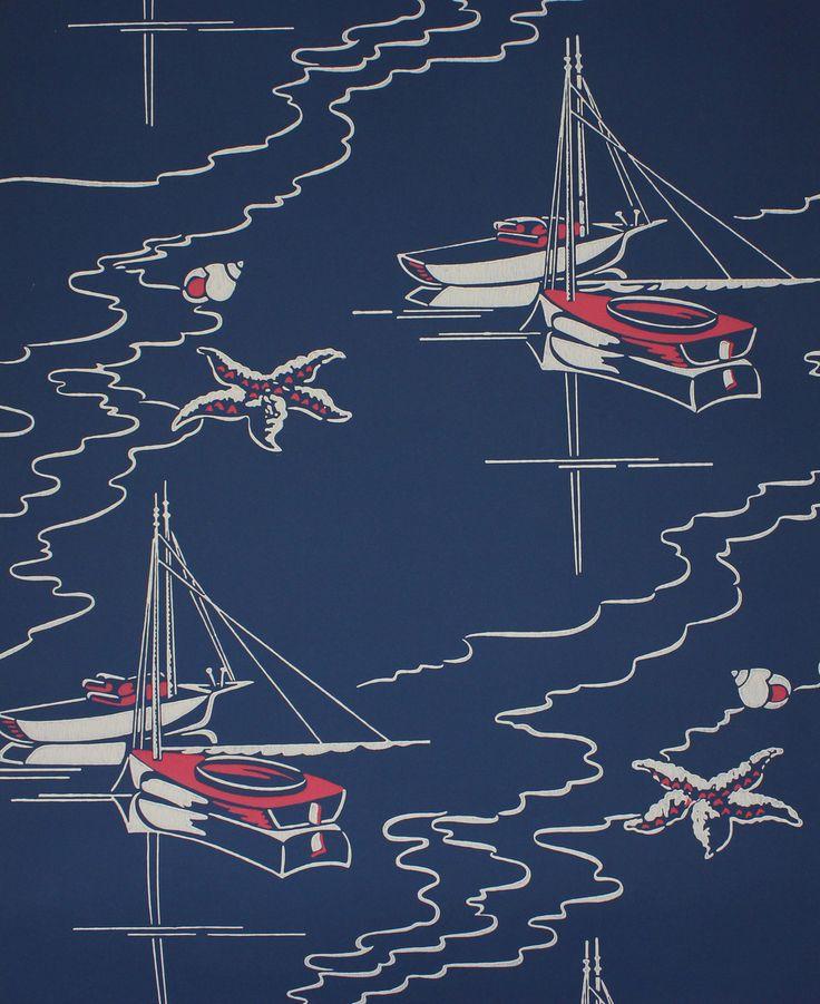 Rosie's Vintage Wallpaper - 1950's Vintage Wallpaper Sailboats on Blue, $130.00 (http://www.rosiesvintagewallpaper.com/1950s-vintage-wallpaper-sailboats-on-blue/)