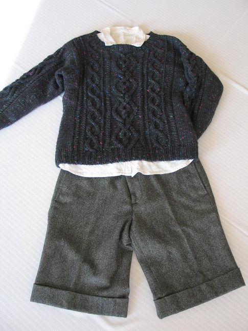 ミニマフラー付きアラン模様セーター   セーター/プルオーバー