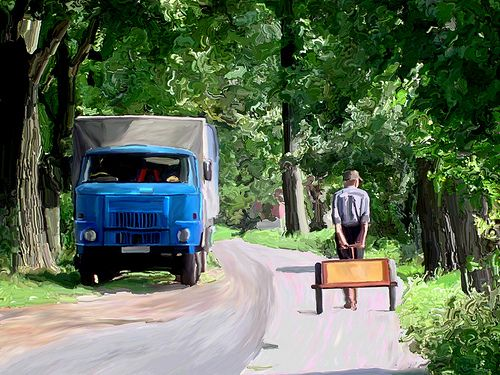 Trailerman - This was rural Poland in about 2003, a common scene.