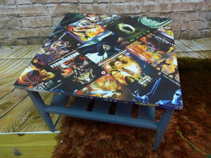 Upcycled Coffee Table Decoupage Sci-Fi Cult Movies Film DVD Modern Industrial