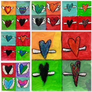 Third Grade Hearts with Wings using oil pastel and tempera paint-Kim & Karen: 2 Soul Sisters (Art Education Blog): Flying Hearts