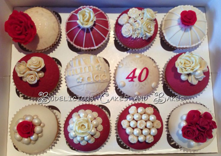 Vintage Cupcakes for a 40th Ruby Wedding Anniversary. All cupcake toppers handmade. By Bodelicious Cakes and Bakes