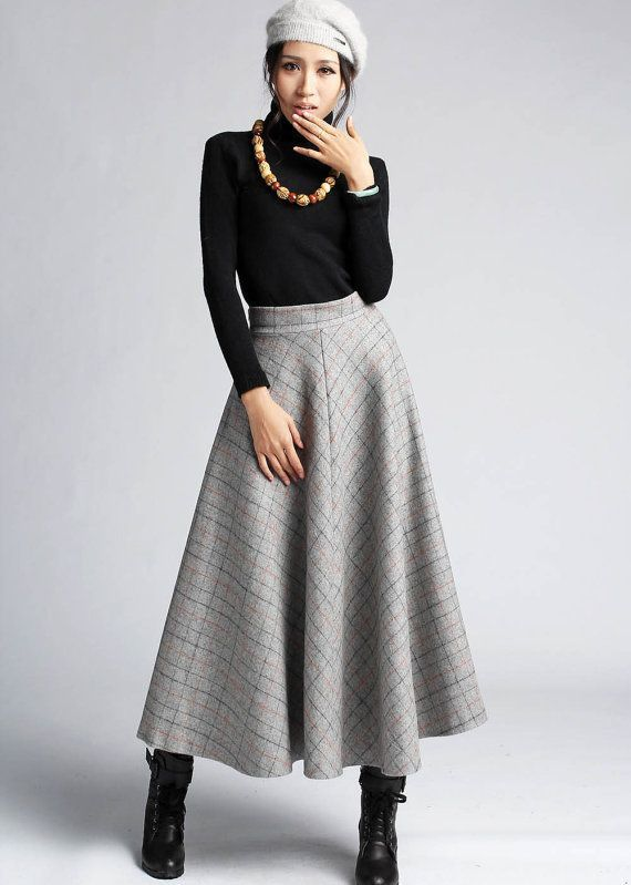 plaid skirt wool skirt winter skirt maxi skirt 412 by