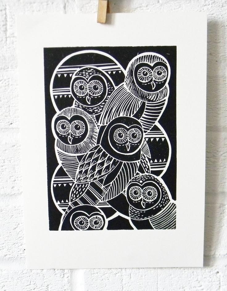 Owls Original Linocut Print
