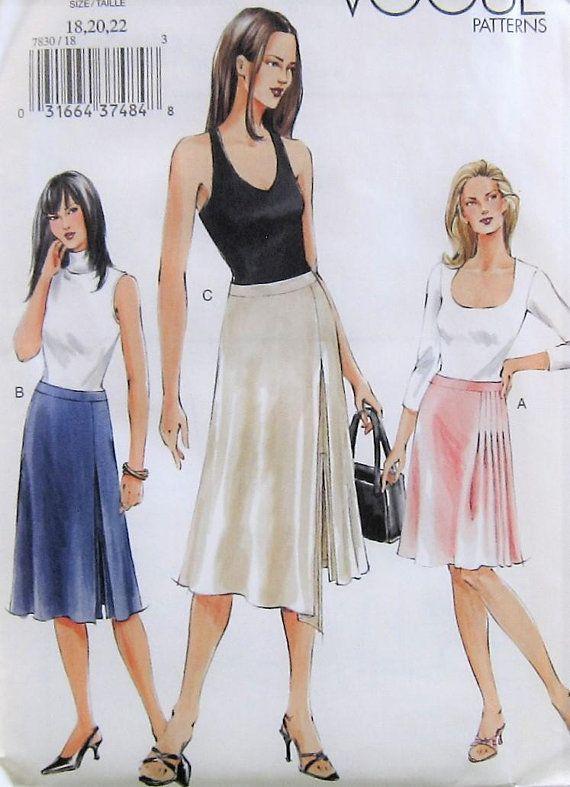 Skirt Sewing Pattern Uncut Vogue V7830 Sizes 18 22 Plus Size