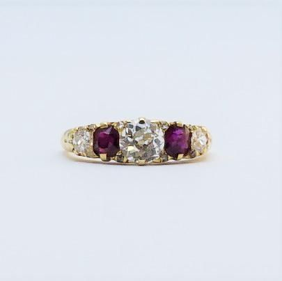 Ruby and Diamond Five Stone Yellow Gold Ring
