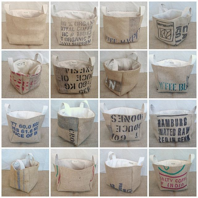 burlap coffee sack buckets.....I'll be making some of these.  Great storage for toys, dog toys, magazines, etc.
