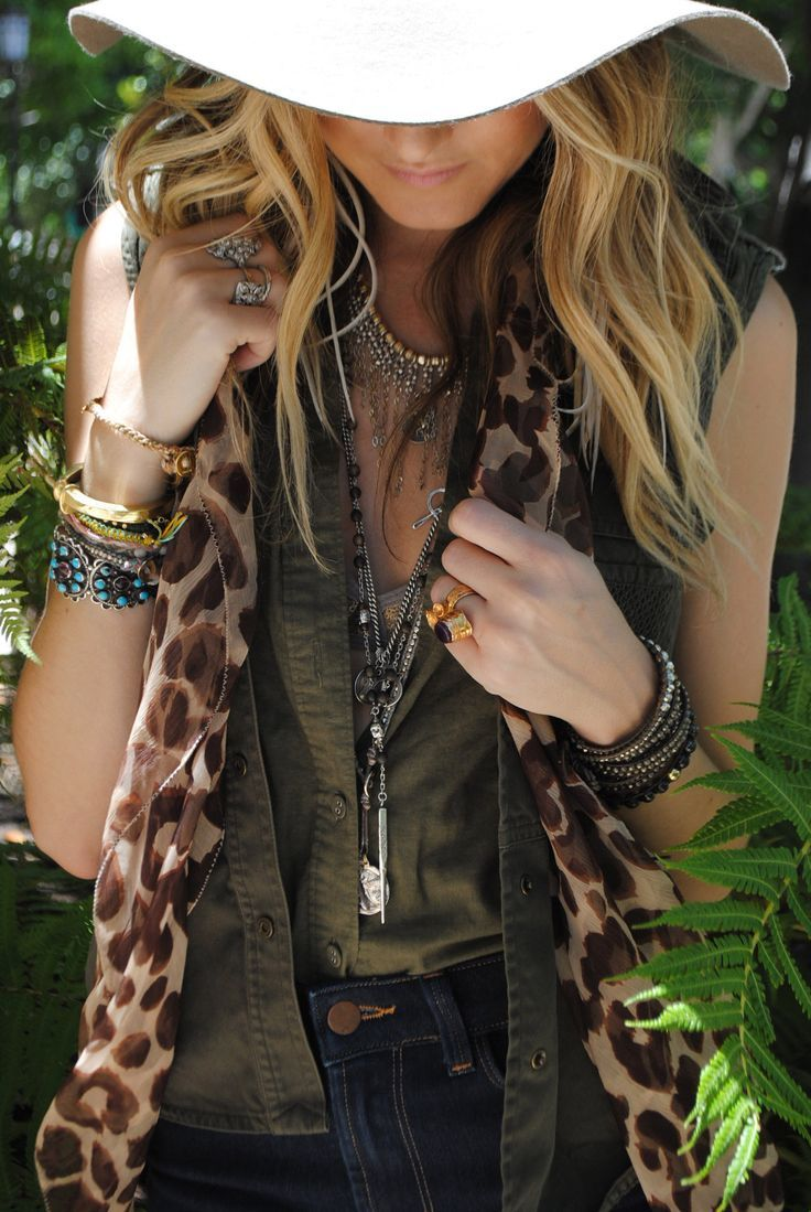 Army green cotton, sleeveless top and vest paired with a perfectly chic gauzy leopard scarf and loads of silver bohemian jewelry! Love!