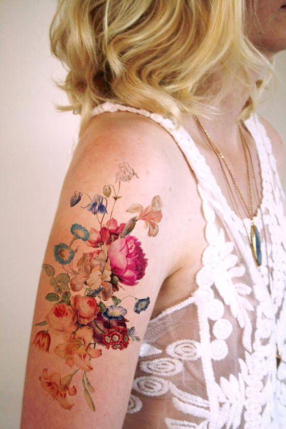watercolor wildflowers temporary tattoo