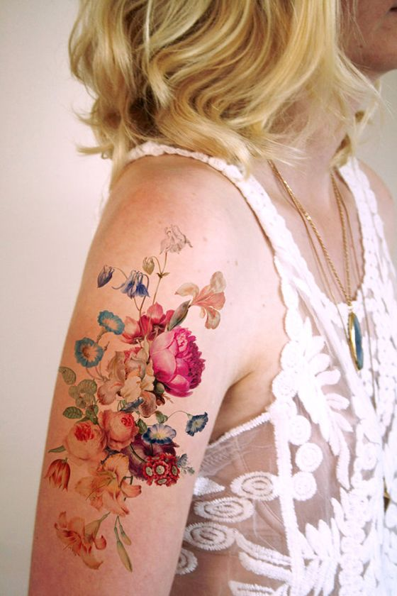 watercolor wildflowers temporary tattoo